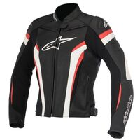 ALPINESTARS STELLA GP PLUS R v2 LEATHER JACKET BLACK WHITE RED