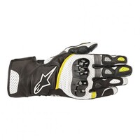 ALPINESTARS SP2 V2 LEATHER GLOVES BLACK WHITE FLURO YELLOW