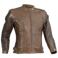RICONDI LADIES MT GLORIOUS PERFORATED LEATHER JACKET DISTRESSED BROWN