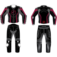 LADIES GP EVO 2PC SUIT BLACK/MAROON