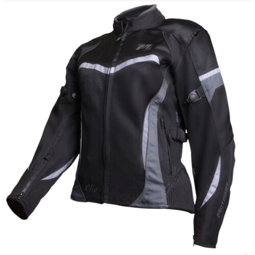 MOTODRY CLIO LADIES JACKET BLACK/WHITE [SIZE: 14]