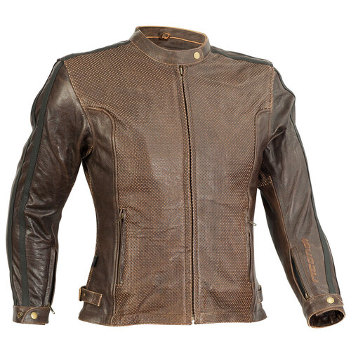 RICONDI LADIES MT GLORIOUS PERFORATED LEATHER JACKET DISTRESSED BROWN 10