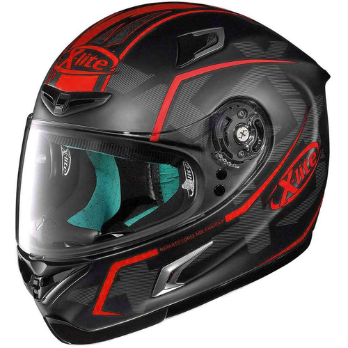 X-LITE X-802 MARQUETRY FLAT BLACK/RED HELMET [SIZE: S]